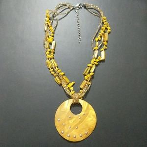 Jewelry - Yellow Shell Seed Bead Necklace with Shell Pendant